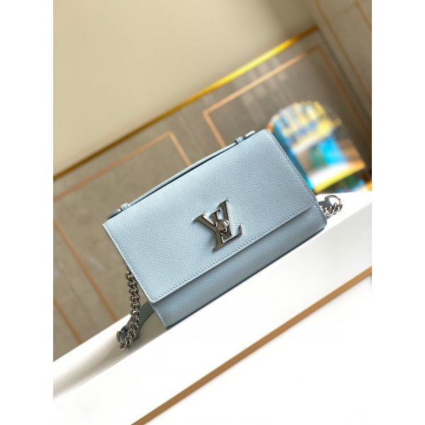 Louis Vuitton Fake Clutch Lockme M56136 Olympe Blue Leather
