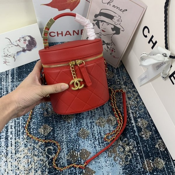 CC Replica Red Quilted Leather Small High Quality Filigree