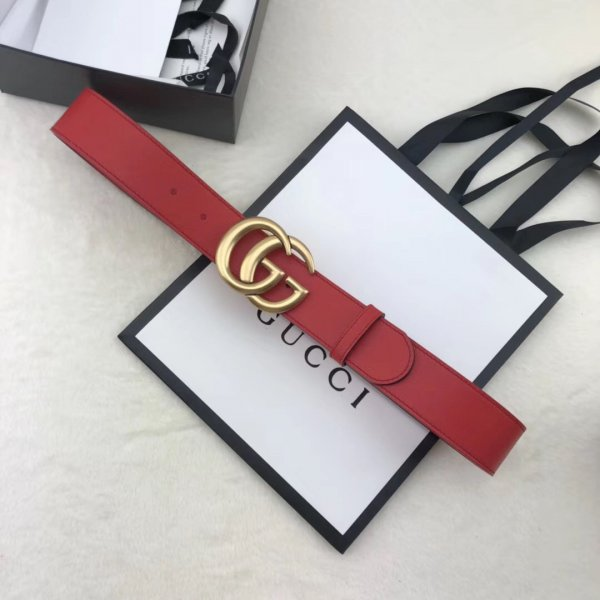 AAA+ Gucci Replica Leather Belt With Double G Red Buckle