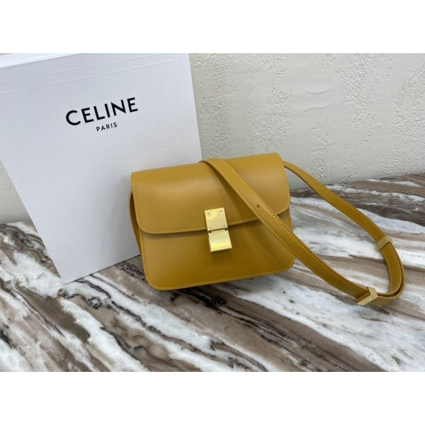 Celine Leather Teen Classic Bag in Yellow