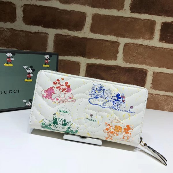 Replica Gucci High Quality White Online Exclusive Disney 616765 GG Marmont zip