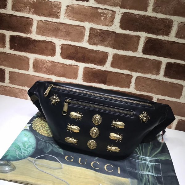 Gucci Top Quality GG Leather Belt Bag with Crystals 484683